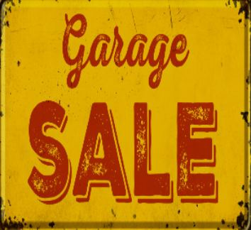 YELLOW SIGN WITH RED WORDS THAT SAY GARAGE SALE